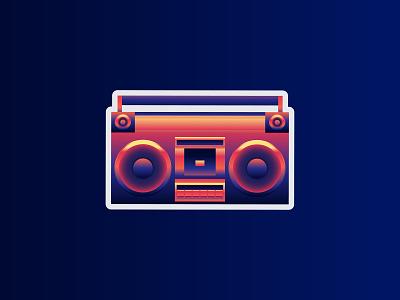 Neon Boombox music retro sticker stickermule boombox illustration vector