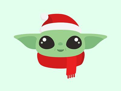 Santa Baby (Yoda) cute sticker vector christmas illustration star wars the mandalorian grogu the child baby yoda