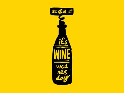 Wine Wednesday yellow typography type lettering handlettering wino wednesday wine