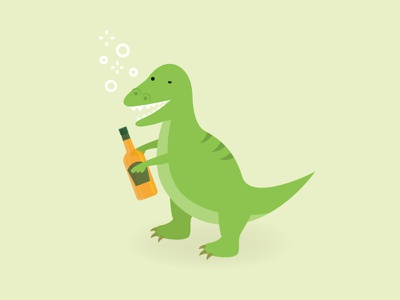 T-Rekt party fun alcohol illustration funny drunk dinosaur t-rex
