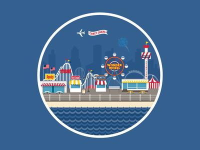 Coney Island illustration sticker rebound park amusement park carnival fun vacation summer wonder wheel brooklyn coney island