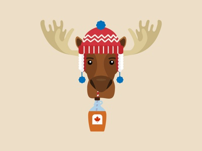 Monty the Moose toque hat winter vector illustration sticker canadian syrup canada moose