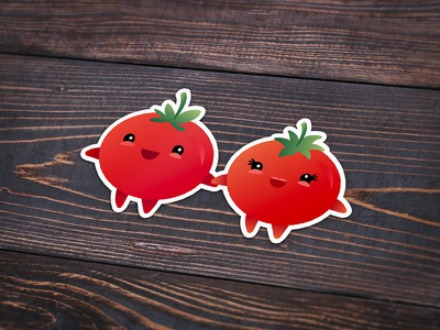 I Love You From My Head Tomatoes playoff sticker love vector cute illustration couple tomatoes tomato