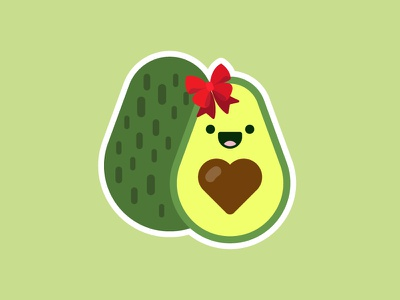 It's An Avocado! cute foodie food illustration vector sticker sticker mule giving gift thanks love avocado