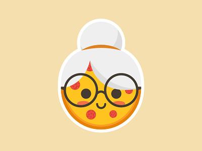 Grandma Pizza grandma pizza sticker playoff funny pun grandma vector illustration food pizza