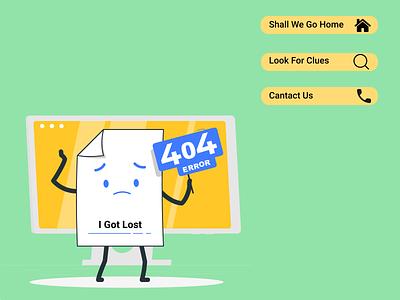 404 Error graphic design ui home page error illustration 404 error 404 web page web dailyui