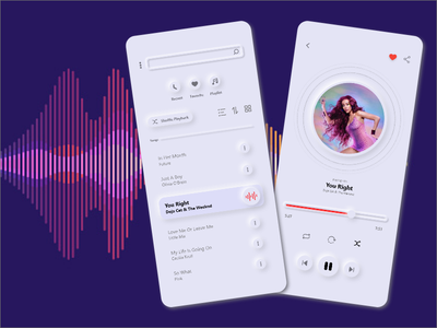 DailyUi - Music Player light dark artist music app player ui neumorphism equalizer spotify clean playlist minimal ux ui design player concept podcast song music music player