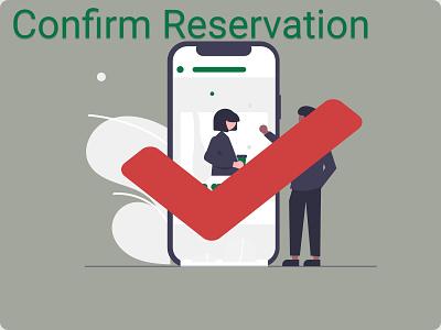 Confirm Reservation UI typography vector dailyui character design design illustration branding cobform reservarionui