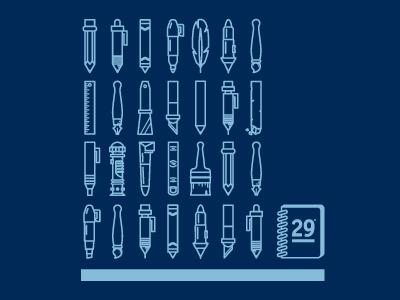 R29 T Shirt pencils pen crayon rule29 sketchbook blue brush lightsaber vector illustration