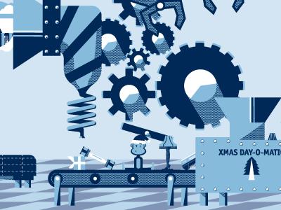Christmas Card monkey leg lamp blue converter christmas vector gears shake weight
