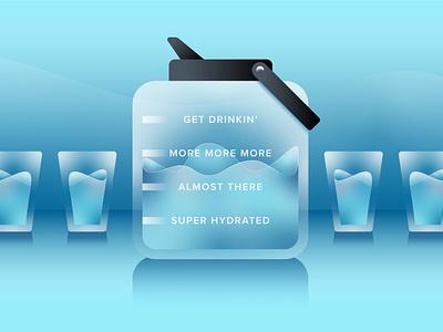 Get Drinkin' illustration glass jug swirl water hydrate