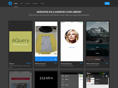 Qodego library android ios collection landing design ux ui uiux web inspiration