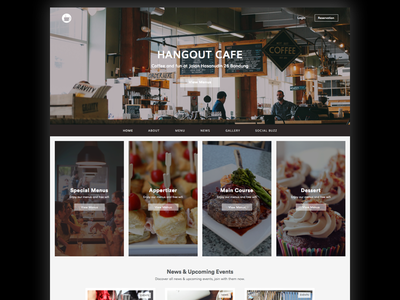 Hangout Cafe dish menu design ui landing web restaurant cafe