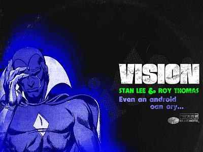 Marvel Blue Notes Records - Vision typography illustration design