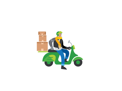 QuickBooks Data Transfer after effects javascript lottie bodymovin boxes loading moped scooter illustration motion design character animation