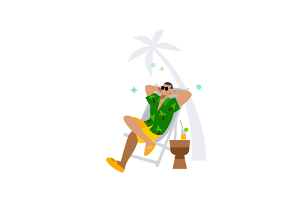 QuickBooks Automate and Chill summer relax chill lottie bodymovin drink sun glasses intuit quickbooks sparkles palm tree beach ball beach illustration character after effects animation