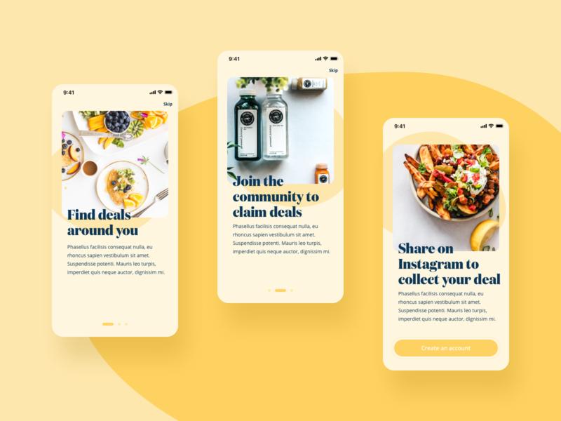 Onboarding UI rounded corners 2020 trend ui yellow food mobile dailyui app app ui onboarding screens onboarding
