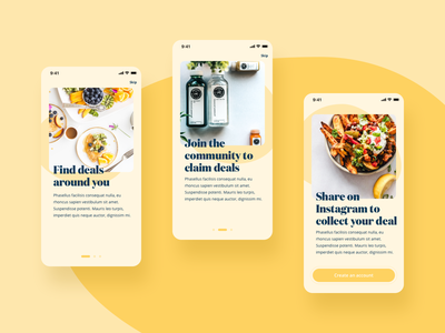 Onboarding UI rounded corners 2020 trend ui yellow food mobile dailyui app app ui onboarding screens onboarding
