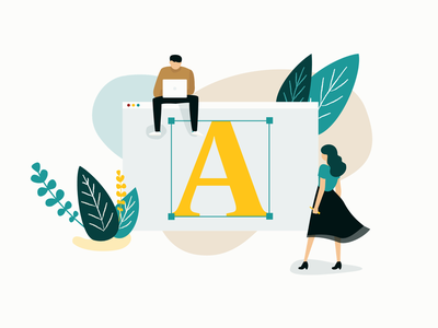 What's a Design System -  Blog post illustration hero banner cover image digital art graphic design man lady vector flat illustration shapes shape team leaf plant blog post illustration design system