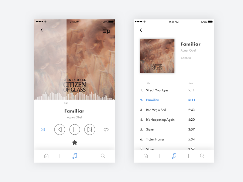 #012 Daily UI challenge - Music Player listen album agnes obel white minimalist music player music mobile app ux ui dailyui
