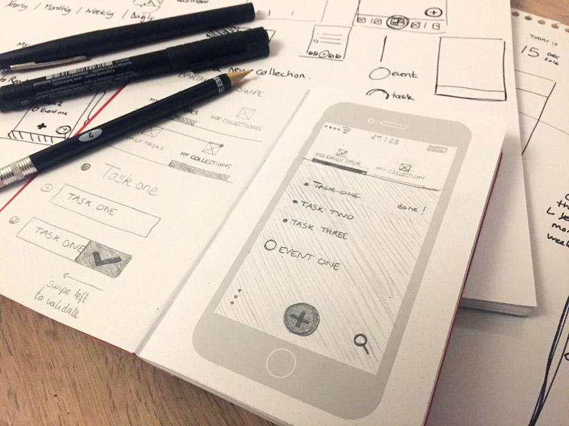 #015 Daily UI challenge - UX UI Sketches app todo bullet journal pen uistencils paper dot paper wireframe sketch ux ui dailyui