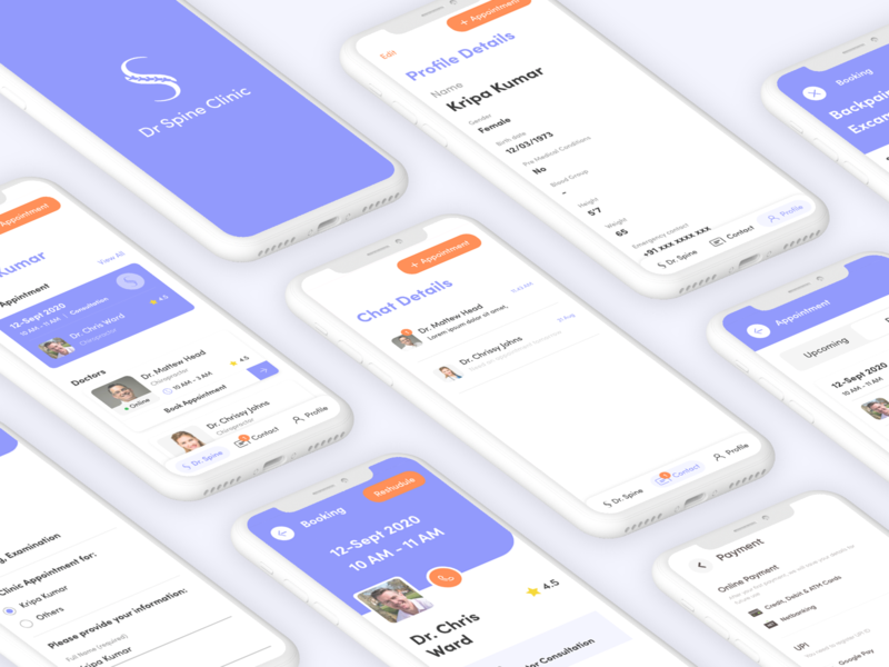 Spine Clinic App medical app medical doctor app clinics clinic creative ux user interface ui