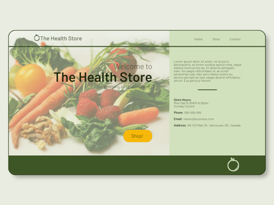 Health Store Landing Page branding lifestyle wellness green health webdesign webpage uidesign ui design