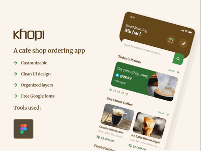 Khopi - A cafe ordering app app design mobile app designer ux design ui design ux uiux uix ui ui kit android ios