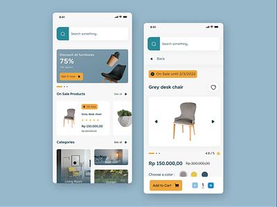 Furniture app exploration mobile app designer ux design ui design ux uiux uix ui ui kit android ios figma
