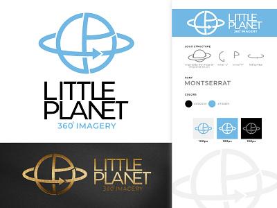 Little Planet 360 VR Logo blue gold shopisticated saturn planet little graphic design vector icon modern logo clean design branding reality virtual sleek