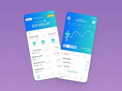 Crypto mobile app service clean pink money future stocks stock market trade app design interface crypto app ui design