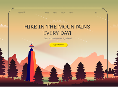 Hiking page concept yellow green red colors fullscreen modern trendy popular graphic design 3d pro logo illustration clean figma homepage website interface ui design