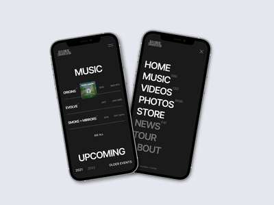Imagine dragons new website mobile 2021 photoshop song layout flat concept behance dragons music typography rock ux visialization illustration clean figma homepage website interface ui design