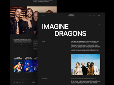 Imagine dragons new website about 2021 typography flat rock musician music imagine behance concept ux dragons clean figma homepage website ui interface design visualization