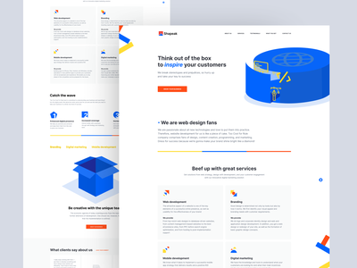 Landing page for the marketing company ux responsive 3d advertise concept agency sales smm marketing illustration clean figma homepage website interface ui design