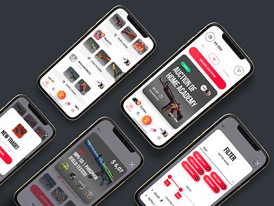 UI for SkinSwipe App steam product gaming digital events dota2 dota csgo skinswipe skin skins cybersport ui app brand branding design uiux