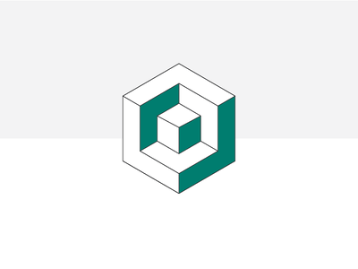 Cube-in-a-cube Logo design minimal flat pastel color colour fictional exploration logo square cuboid cube
