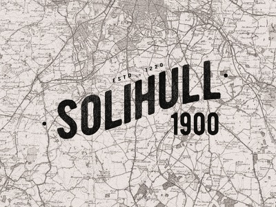 Solihull 1900 typography traditional classic old map 1900 solihull
