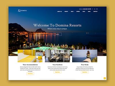 Domina resorts website hotel slider ui ux homepage sicily holiday wordpress cms web website domina