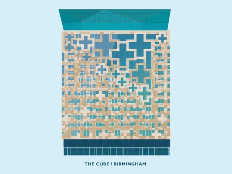 The Cube - Birmingham architecture building illustraion vector birmingham cube