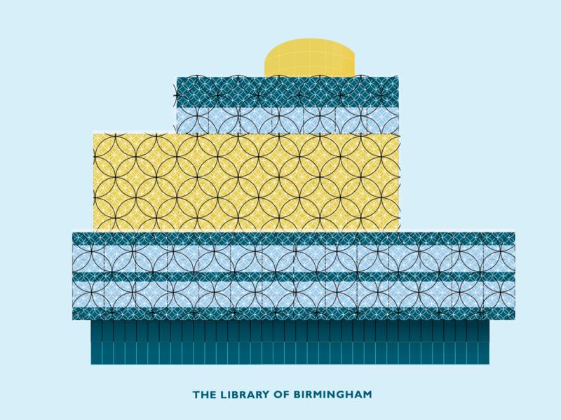 The Library of Birmigham flat design minimal architecture building logo illustraion vector birmingham library