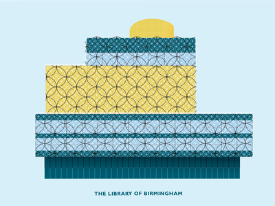 The Library of Birmigham skyline landmark image stock download flat design minimal architecture building logo illustraion vector birmingham library