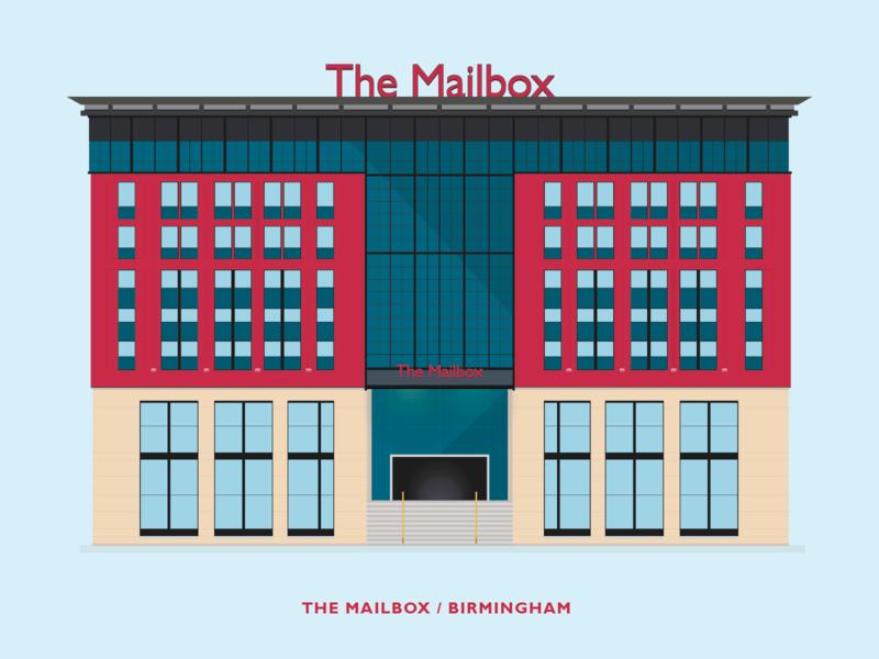 The Mailbox - Birmingham clean minimal flat design vector west midlands architecture building illustration birmingham mailbox