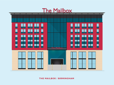 The Mailbox - Birmingham shutterstock download clean minimal flat design vector west midlands architecture building illustration birmingham mailbox