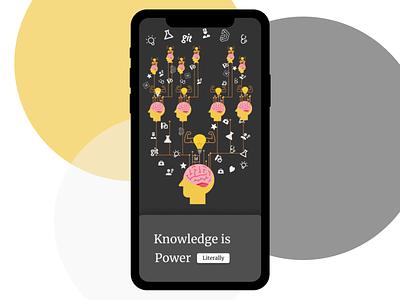 UI Shot : Knowledge is Power (Literally) illustration design branding logo