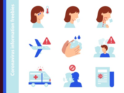 Сoronavirus information icons (freebies) travel news rumors help health medical breath shortness fever cough symptoms places crowd public avoid corona virus coronavirus free freebie icons