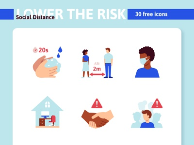 Coronavirus: Social distance illustration icons corona mask stay home home office handshake avoid quarantine stayhome distance social crowd wash hands face covid-19 socail distance virus coronavirus