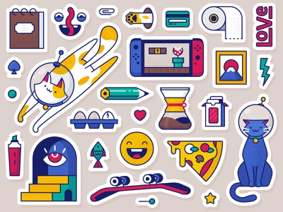 Doodling objects and CATS! picture love coffee eggs stickers doodling doodles pencil fuji toilet paper toiletpaper switch nintendo objects pizza mystic skate cat