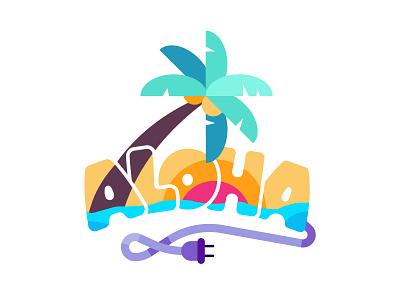 Aloha sticker summer vacation palm aloha reward badge stickers sticker snapchat