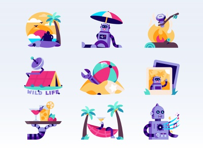 Vacationing robots (stickers for Snapchat) icons music coctail illustration snapchat palm fire tent beach drinks camp robot vacation summer stickers sticker